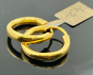 22k Earrings Solid Gold Men Jewelry Simple Plain Glossy Hoop Design E6296