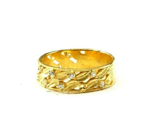 "22k Ring Solid Gold ELEGANT Charm Ladies Band SIZE 7.75 ""RESIZABLE"" r2588mon"