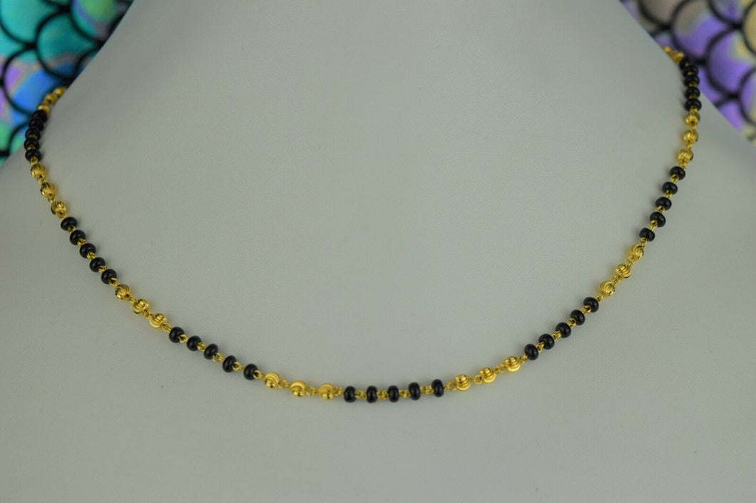 22k Mangalsutra Solid Gold Traditional Ladies Black Onyx Necklace Design C083