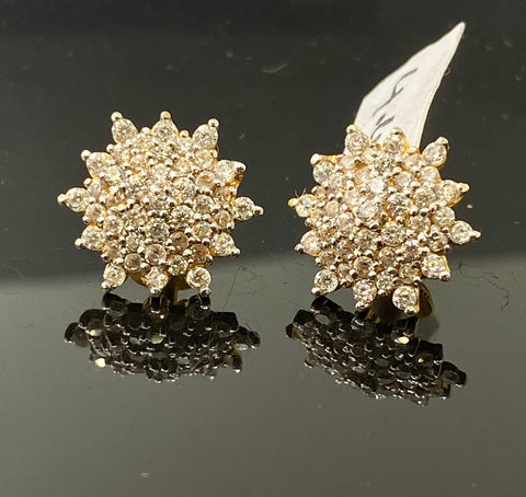 22k Solid Gold Ladies Earrings Studs Floral Design Signity Stone E6840 - Royal Dubai Jewellers