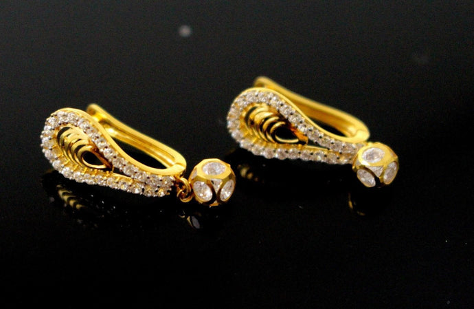 22k Jewelry Solid Gold ELEGANT ZIRCONIA CLUSTERED CLIP ON earrings studs e5505