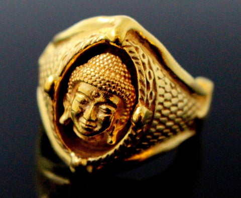 22k 22ct Solid Gold ELEGANT MENS RING LASER CUT Rare Buddha Size 11.75 R1511