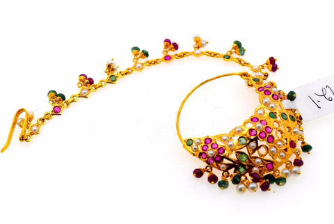 22k 22ct Yellow GOLD BEAUTIFUL BRIDAL JADAU MULTI STONE NOSE RING NATH WOMAN T4