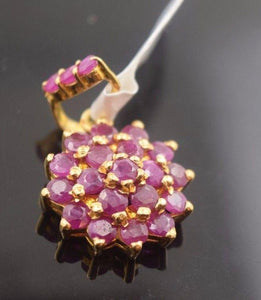 22k Solid Gold ELEGANT RUBY flower shape Pendent Classic Design P403