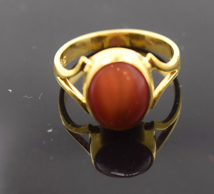 22k 22ct Solid Gold ELEGANT CAT EYE STONE Ring BAND