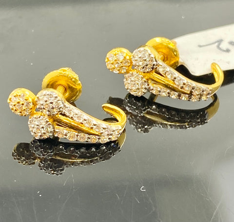 22k Solid Gold Earrings Floral Design Signity Stone Two Tone Design E6855 - Royal Dubai Jewellers