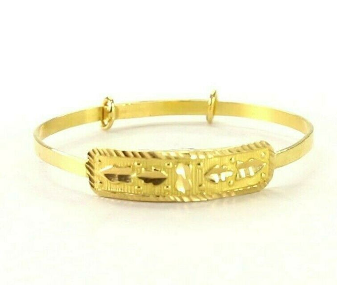 22k Bangle Solid Gold Simple Children Plain Diamond Cut Adjustable Bangle cb1324