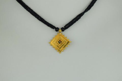 22k Mangalsutra Solid Gold Ladies Necklace Choker with Pendant Design C088