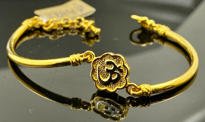 22k Bracelet Solid Gold Children Jewelry Simple Hindu Om Design CB1148