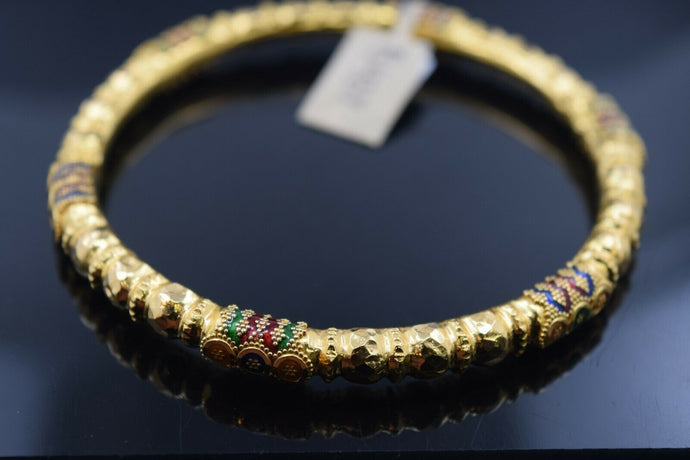 22k Bangle Solid Gold Elegant Ladies Traditional Design With Color Enamel B437