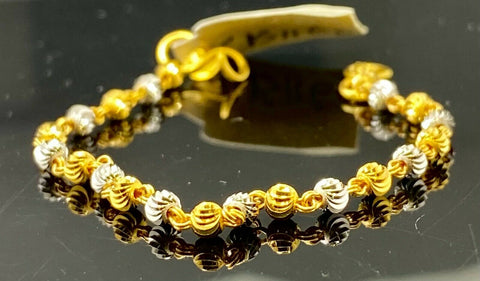 22k Bracelet Solid Gold Children Jewelry Simple Two Tone Bread Design CB1160