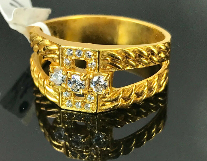 22k Rings Solid Gold Elegant Wheat Style Mens Ring with Stones R2047 mon