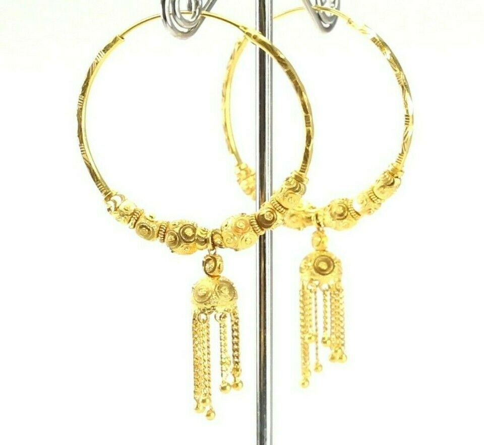 22k Earrings Solid Gold ELEGANT Simple Classic Hoops With Dangle Design E3914