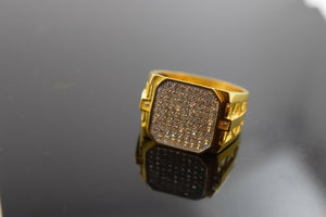 "22k Solid Gold STONE MENS Ring with Stone ""RESIZABLE"" R287 - Royal Dubai Jewellers"