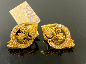 22k Earring Solid Gold Ladies Simple Filigree Design E6703 - Royal Dubai Jewellers