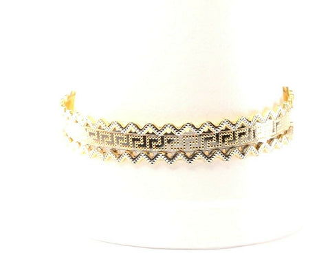 22k Bangle Solid Gold Elegant Charm Modern Italian Design Size 2.5 inch B1154
