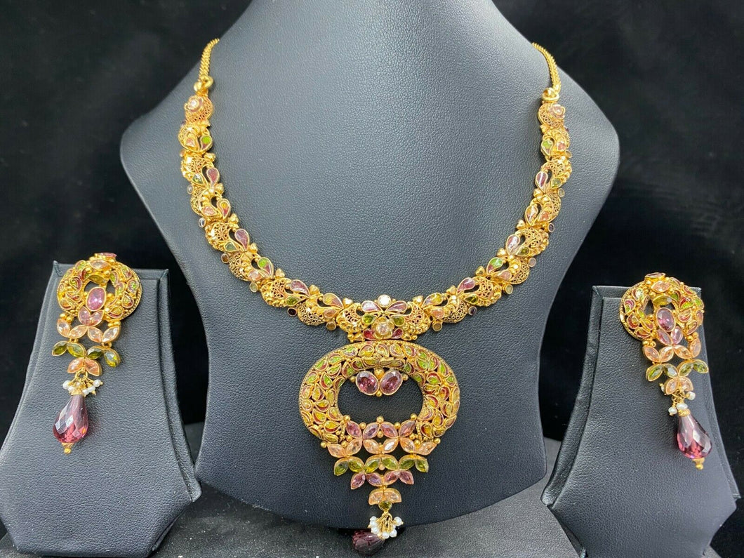 22k Necklace Set Beautiful Solid Gold Ladies Traditional Mix Color Stones LS112