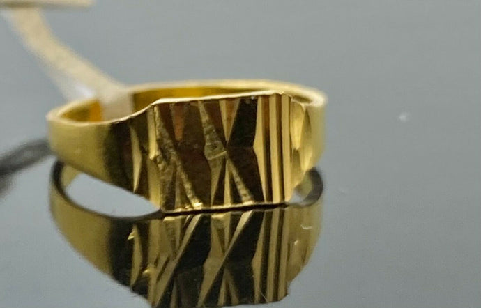 22k Ring Solid Gold Children Jewelry Simple Geometric Design R2184z