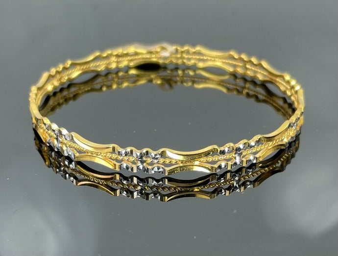 22k Bangle Solid Gold Elegant Ladies Two Tone Geometric Cut Out Design B385