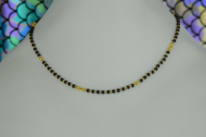 22k Mangalsutra Solid Gold Traditional Ladies Black Onyx Necklace Design C087