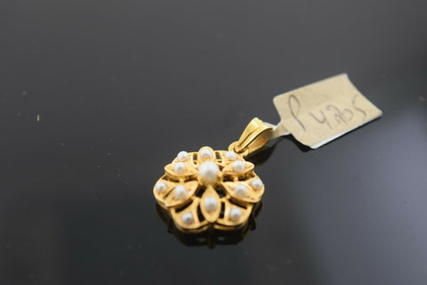 22k Solid Gold Charm Pendant Simple Floral With Pearl Design p4205