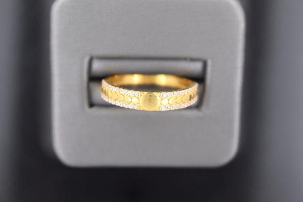 "22k 22ct Solid Gold BEAUTIFUL ZIRCONIA BAND Ring SIZE 8.8 ""RESIZABLE"" r1206 - Royal Dubai Jewellers"