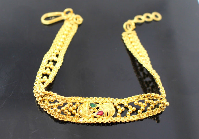 22k 22ct Solid Gold ELEGANT Charm Bracelet Bangle length 8 Inch with Enamel B698 - Royal Dubai Jewellers
