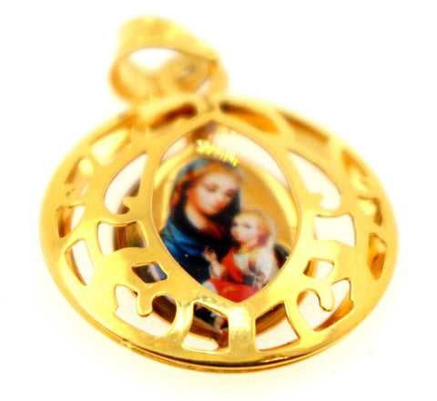 21k 21ct Solid Gold Mary Christian Pictured Religious Round Shape Pendent P1313 | Royal Dubai Jewellers