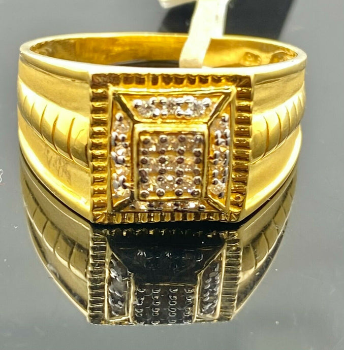 22k Ring Solid Gold Men Jewelry Classic Diamond Cut With Stone Design R2156