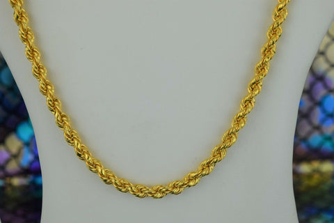 22k Chain Solid Gold Simple Elegant Thick Long Rope Link Design C02 - Royal Dubai Jewellers