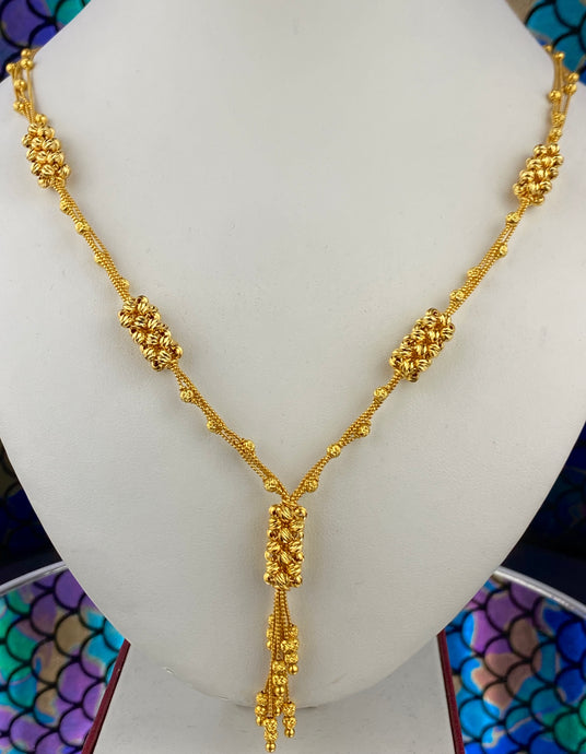 22k Chain Solid Gold Ladies Filigree Inter Connected Beads C0294 - Royal Dubai Jewellers
