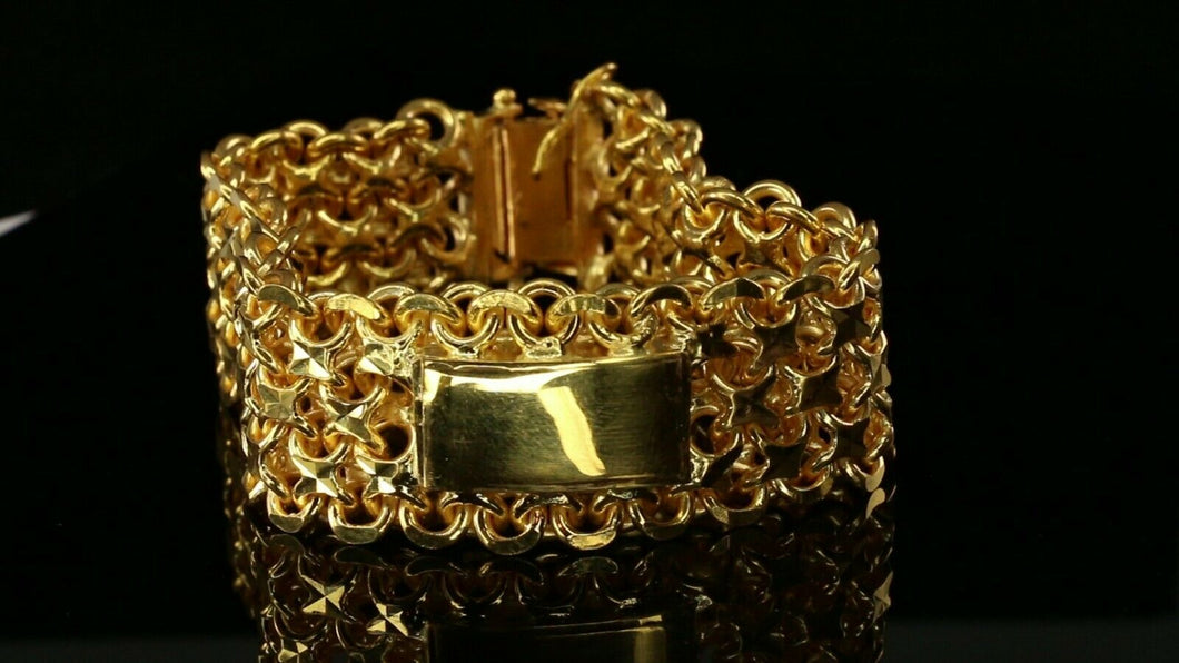 22k Bracelet Solid Gold Exclusive Luxurious Charm Mess Link Design B4058 - Royal Dubai Jewellers