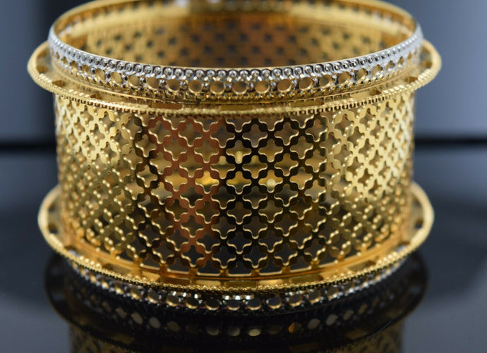 22k Bangle Solid Gold Elegant Ladies Wide Mess Filigree Floral Design BR121