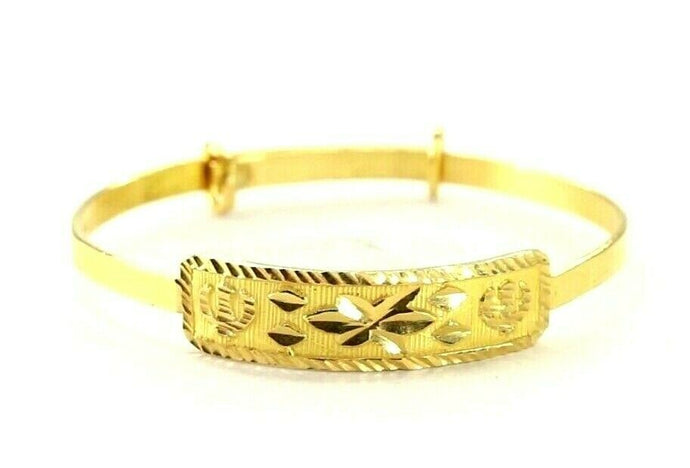 22k Bangle Solid Gold Simple Children Religious Sikh Diamond Cut Bangle cb1304