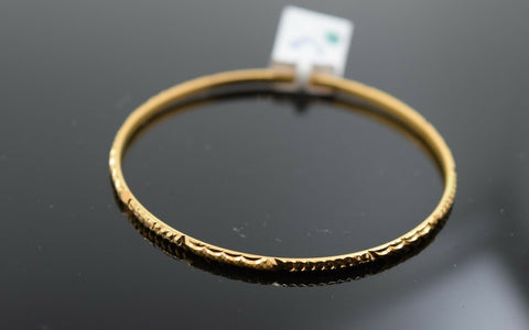21k Solid Gold Elegant Baby Children Bangle Classic Diamond Cut Design cb1139