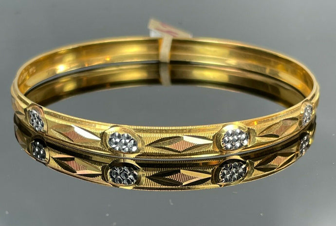 22k Bangle Solid Gold Elegant Ladies Diamond Cut Geometric Design BR117