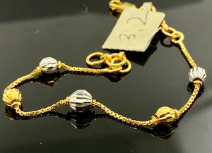 22k Bracelet Solid Gold Children Jewelry Simple Two Tone Beads Design BR65