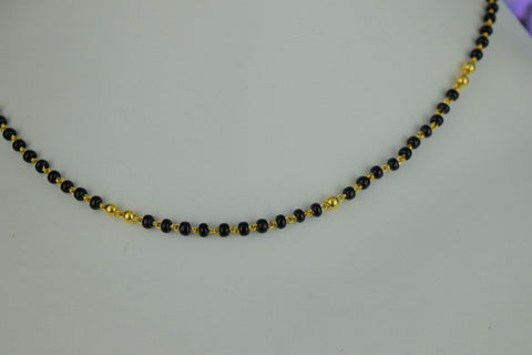 22k Mangalsutra Solid Gold Traditional Ladies Black Onyx Necklace Design C085
