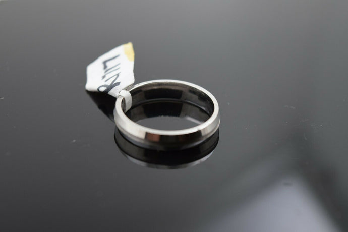 18k Ring Solid Gold Ring Simple White Gold Plain Curve Band R1717