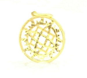 22k Pendant Solid Gold ELEGANT Simple Diamond Cut Geometric Pendant P2155mon