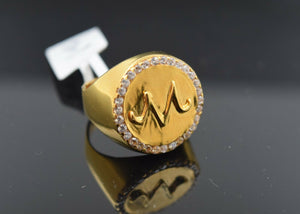 22k Ring Solid Gold Men Jewelry Elegant M Pattern Design With Stones R2439z - Royal Dubai Jewellers