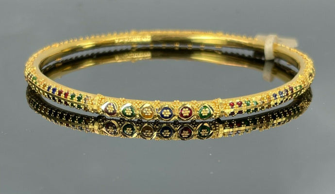 22k Bangle Solid Gold Classic Ladies Tri Color Enamel Design B370
