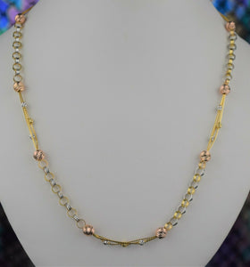 22k Chain Solid Gold Ladies Elegant Tri Tone Beads and Rolo Link Design C3740m - Royal Dubai Jewellers