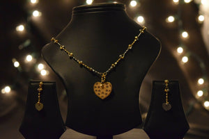 22k Necklace Set Beautiful Solid Gold Ladies Heart Shape Two Tone Design CS204