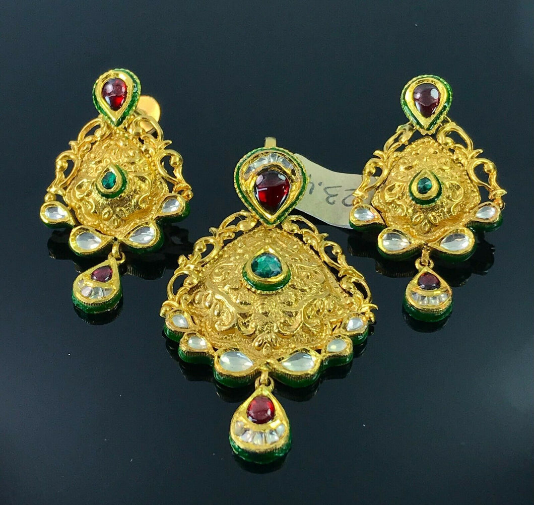 22k Pendant Set Solid Gold Ladies Classic Design With Enamel and Stones P396 - Royal Dubai Jewellers