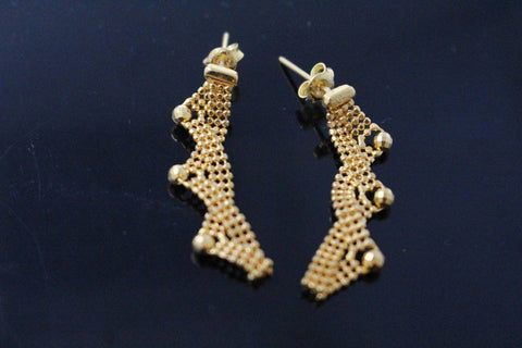 22k 22ct Solid YELLOW Gold LONG HANGING SINGAPORE CHAIN EARRINGS E5857