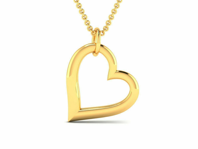 22k Pendant Solid Yellow Gold Ladies Jewelry Elegant Heart Shape Design CGP1