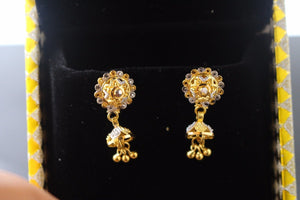 22k 22ct Solid Gold ELEGANT EARRINGS Floral Dangler Design Two Tone E5059