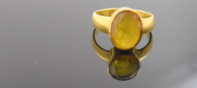 22k 22ct Solid Gold NATURAL YELLOW SAPPHIRE MENS Ring CERTIFIED