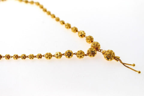 22k Yellow Solid Gold Chain Necklace Diamond Cut Ball Design Length 30 inch c831 | Royal Dubai Jewellers
